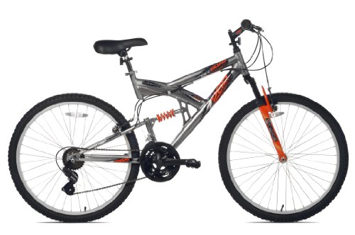 Northwoods Aluminum Full Suspension Mountain Bike (Grey/Orange, 26-Inch)
