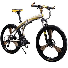 Richbit New 601 Yellow 26 inch Mens Aluminum Folding Mountain Bike 27 Speeds 3 Spokes