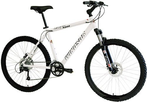 Windsor Cliff 4500 Front Suspension 26″ Men's disc small 15″ frame Mountain Bike white with Shimano 24 Speeds