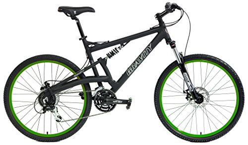 2016 Gravity FSX 2.0 Dual Full Suspension Mountain Bike Shimano Acera Suntour (Matt Black with Green Wheels, 19inch)