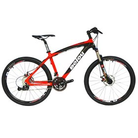BEIOU Toray T700 Carbon Fiber Mountain Bike Complete Bicycle MTB 27 Speed 26″ Wheel SHIMANO 370 CB004G19X (Red, 19″)