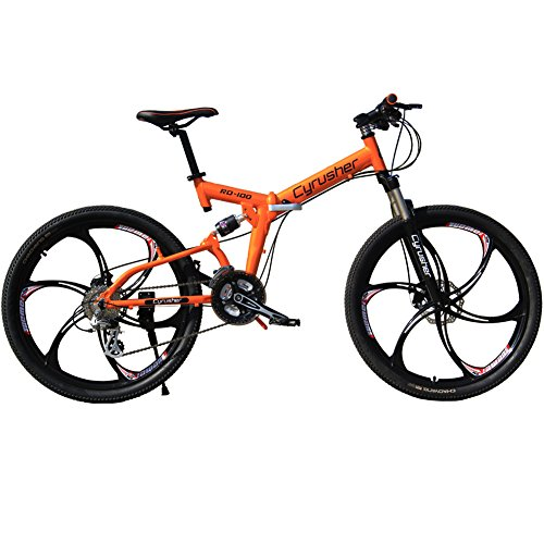 Cyrusher RD-100 Orange Aluminium Frame Full Suspension Mens Mountain Bike Shimano ALTUS 24 Gears Disc Brakes