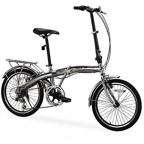 GTM 20″ 6 Speed Foldable Bicycle Folding Bike Fold Storage,Shimano Hybrid, Silver