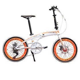 RT-20 Aluminum Frame White Orange Mini Bike Folding Bicycle 20 in Shimano 7 Gears City Sports Bike Mechanical Brakes
