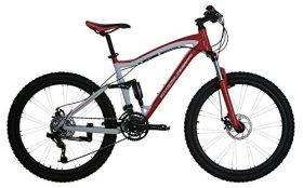 Ferrari® Alloy MTB Series 24-Speed Linkage Dual Suspension Mountain Bicycle Bike (Red/White)