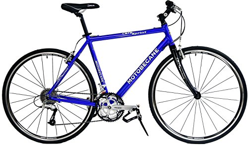 Motobecane Cafe Sprint 700C Hybrid Bike 27 Speed Carbon Fiber fork bike gloss blue 21″ frame