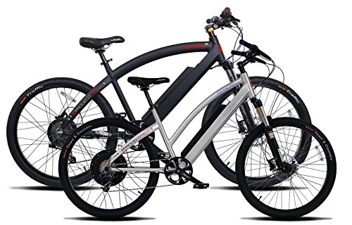 2 Prodecotech Electric Bikes- ProdecoTech Phantom X R V5 36V600W 8 Speed Electric Bicycle 14Ah Samsung Li Ion, Matte Black Bicycle AND Genesis V5 36V600W 8 Speed Electric Bicycle, Brushed Aluminum, 18″/One Size