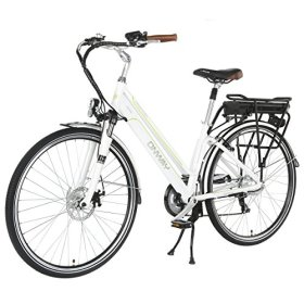 Onway 26 Inch 7 Speed Woman City Electric Bicycle, 36V 250W Aluminium Alloy E Bike with Pedal Assist and Twist Throttle