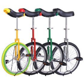 Unicycle 18″ Wheel with Large Saddle in Unique Design with Heavy Duty Unicyle Stand