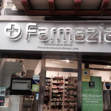 Luminoso para farmacia: Corpóreos en acero inoxidable con leds2
