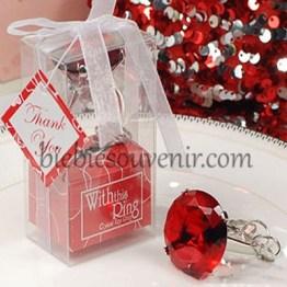 Souvenir wedding gantungan kunci cincin Ring Keychain Merah