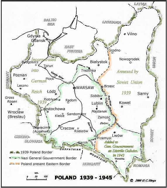 Town Bielitz Poland Map Showing 1940s