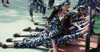 China students military training.