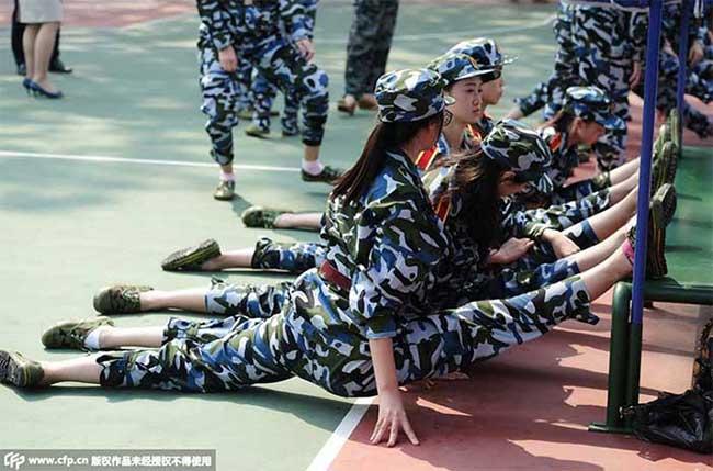 China students military training.