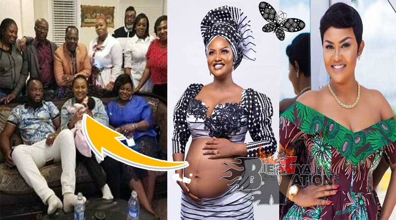 Nana Ama McBrown daughter Maxin Mawushi Mensah & husband Maxwell Mensah.