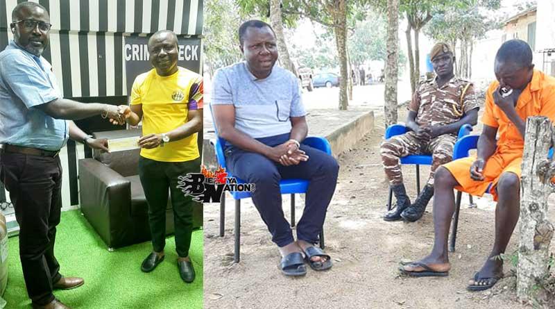 Good Samaritan Ali Ibrahim presenting money to free prisoner Charles Ayisila