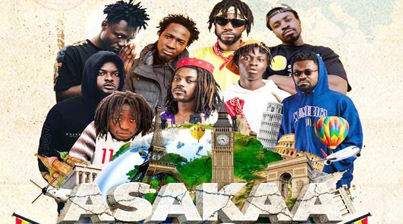 Asakaa Boys with Kumerica Movement include O'Kenneth, Jay Bahd, Kawabanga, City Boy, Reggie, Kwaku DMC, Sean Lifer, Rabby Jones, and Braa Benk.
