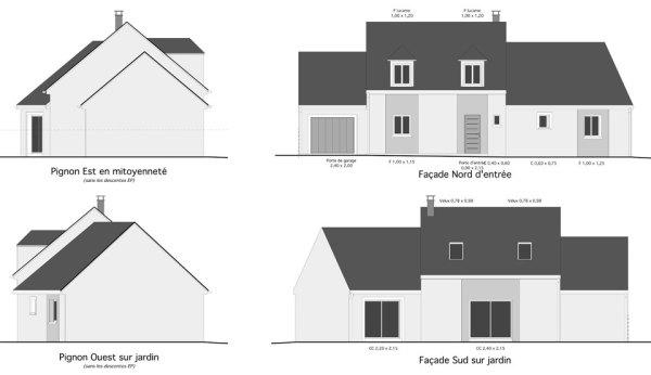 projet de la maison dessiné sous tous les angles