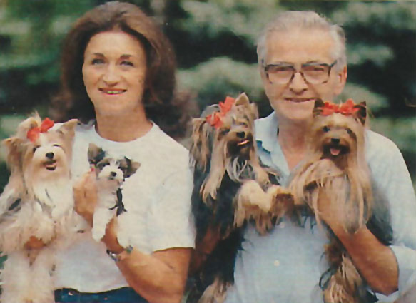 Werner and Gertrud Biewer with Yorkies and Biewer Yorkies