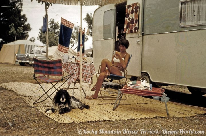 Gertrud and her dog at the campground in Spain