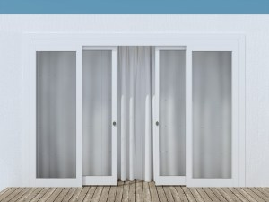 Moder glass entrance door. House exterior.
