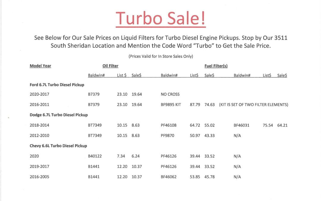 Turbo Diesel Filter Sale