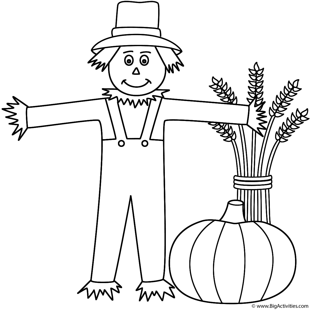 Scarecrow With Wheat Sheaf And Pumpkin