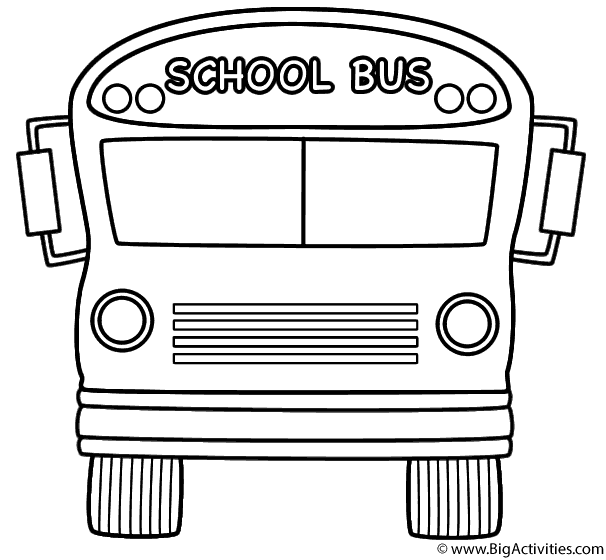 school bus front with theme coloring page back to school