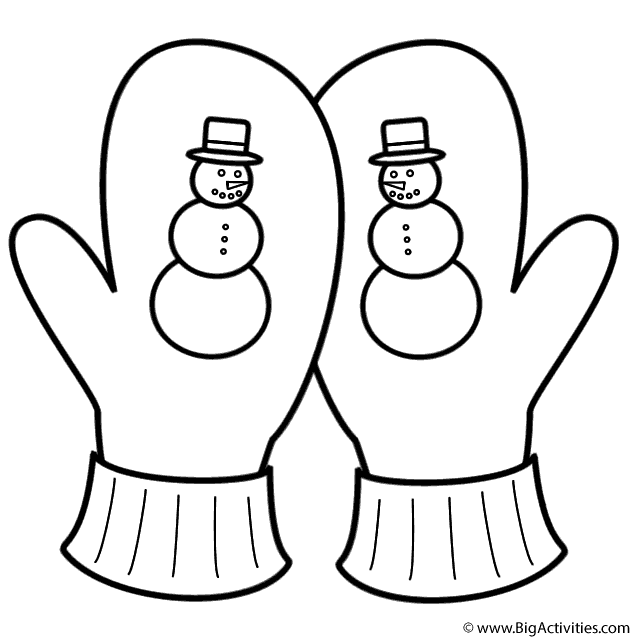 crossed mittens  snowman  coloring page (christmas)