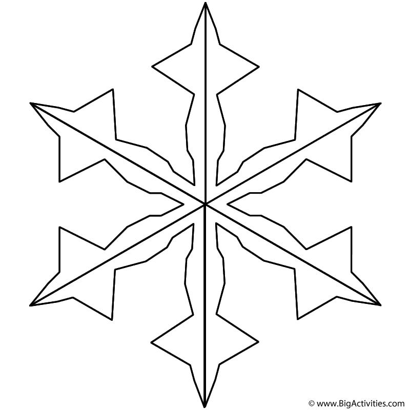 Snowflake 3 Coloring Page Christmas