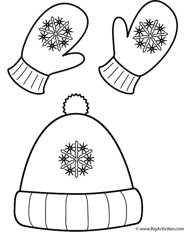 winter hat and mittens coloring page christmas