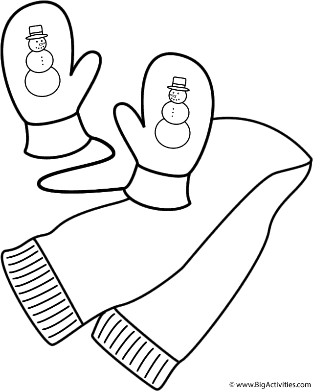scarf and mittens  coloring page (clothing)