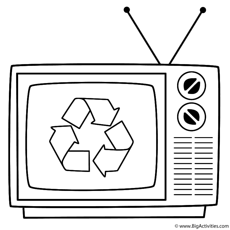 old television with symbol coloring page earth day