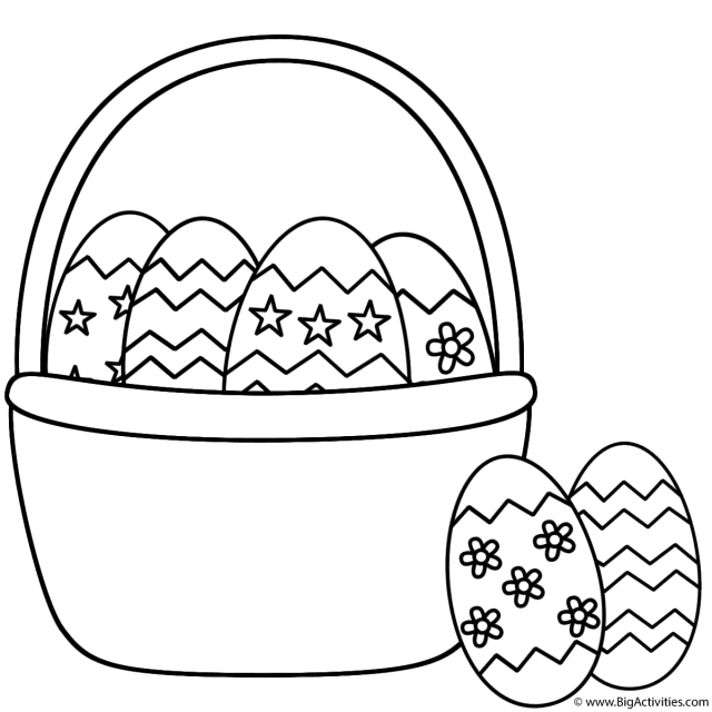 Easter Basket with Easter Eggs and Two Eggs - Coloring Page (Easter)