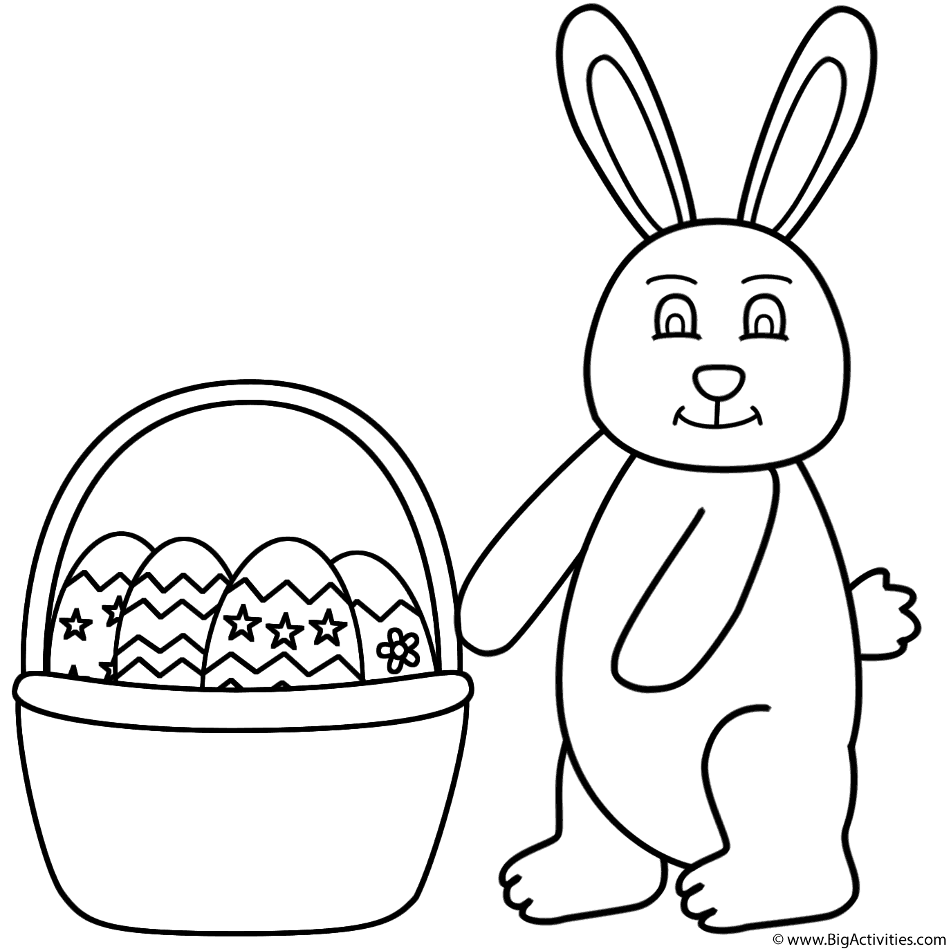Easter Bunny And Basket Of Easter Eggs