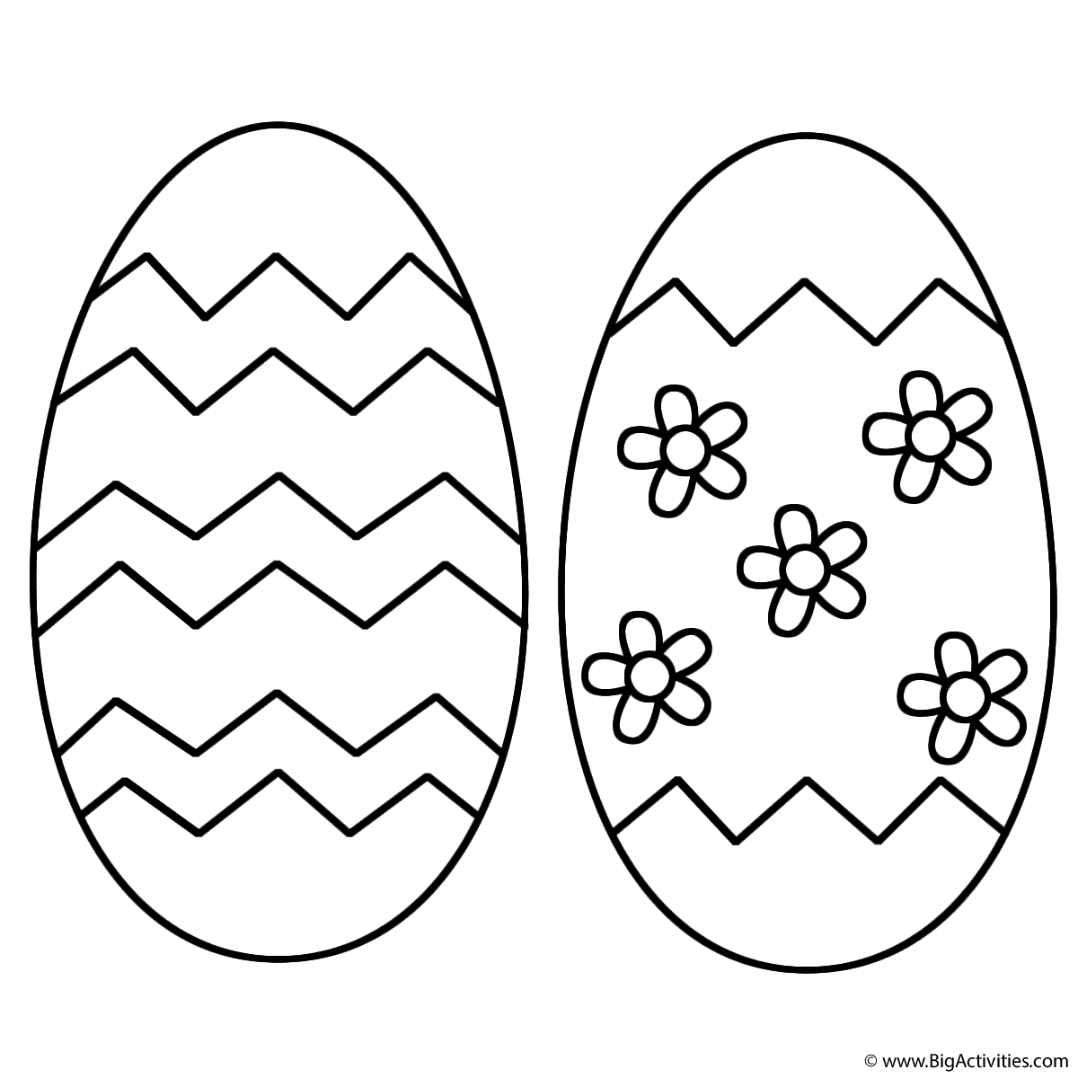 Two Easter Eggs With Patterns And Flowers