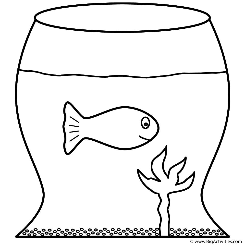 goldfish in fish bowl coloring page fish