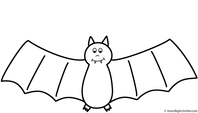 Bat - Coloring Page (Halloween)