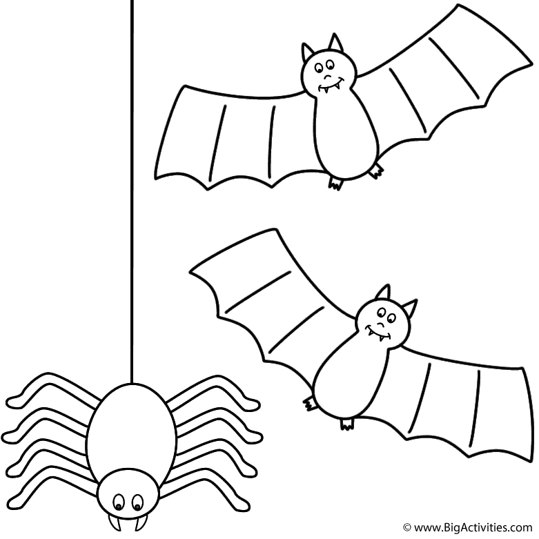 bats with spider coloring page halloween