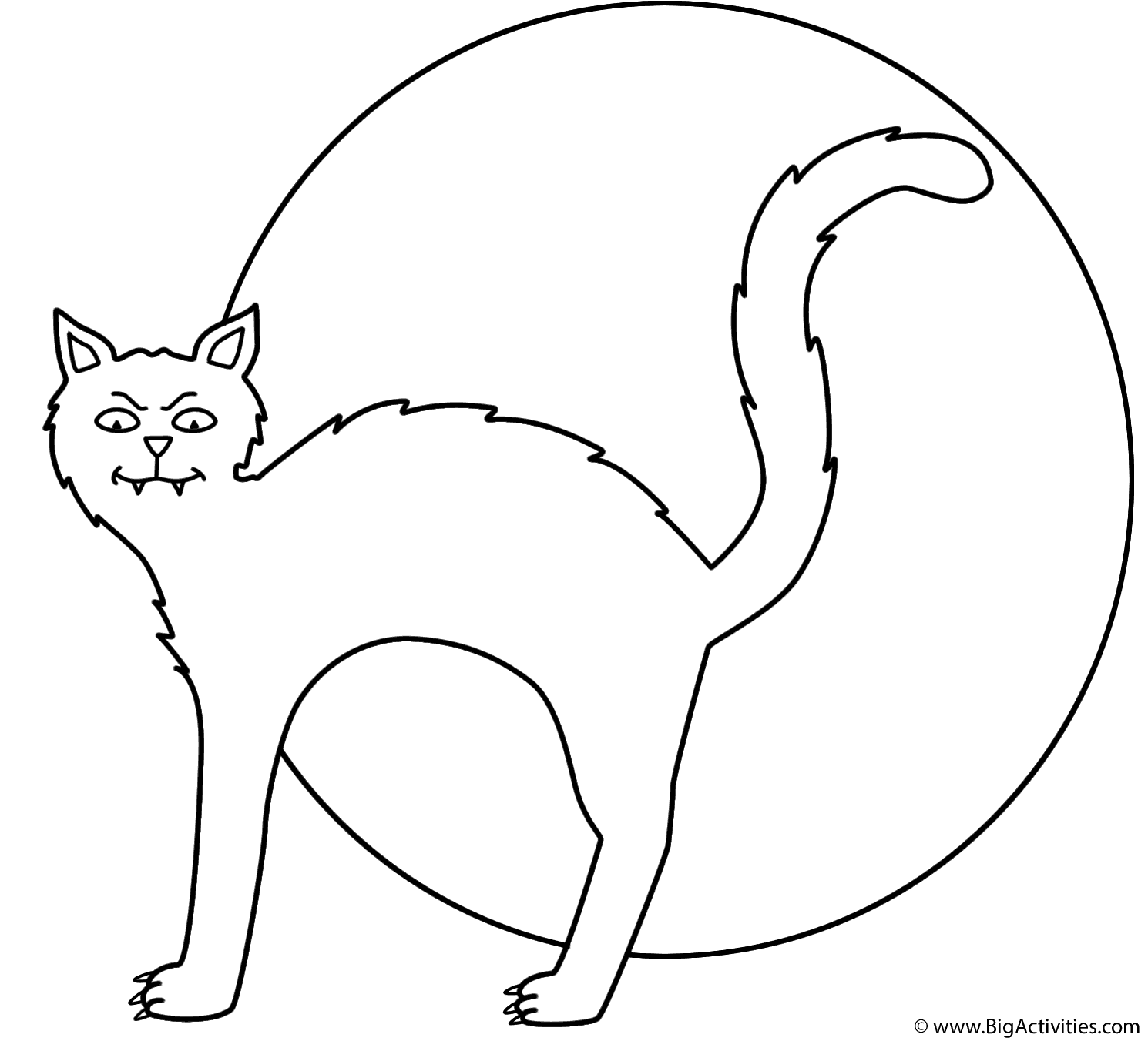 black cat with the moon coloring page halloween