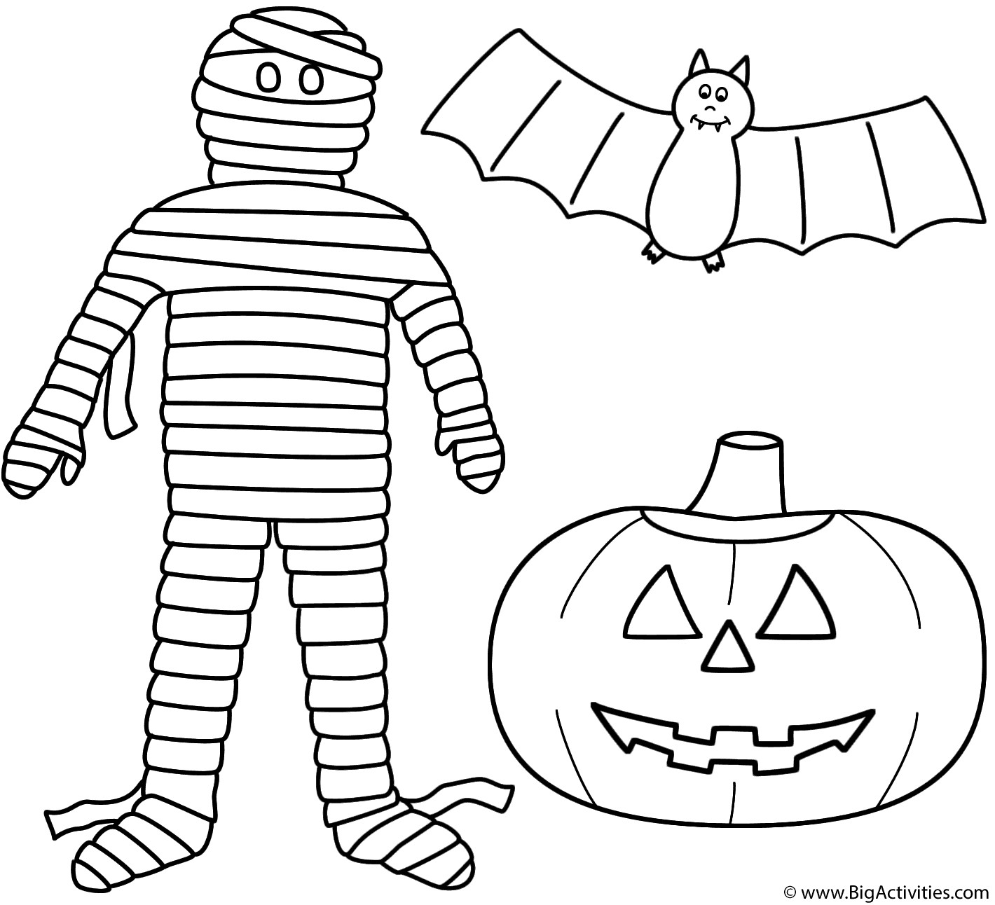 Mummy With Pumpkin Jack O Lantern And Bat