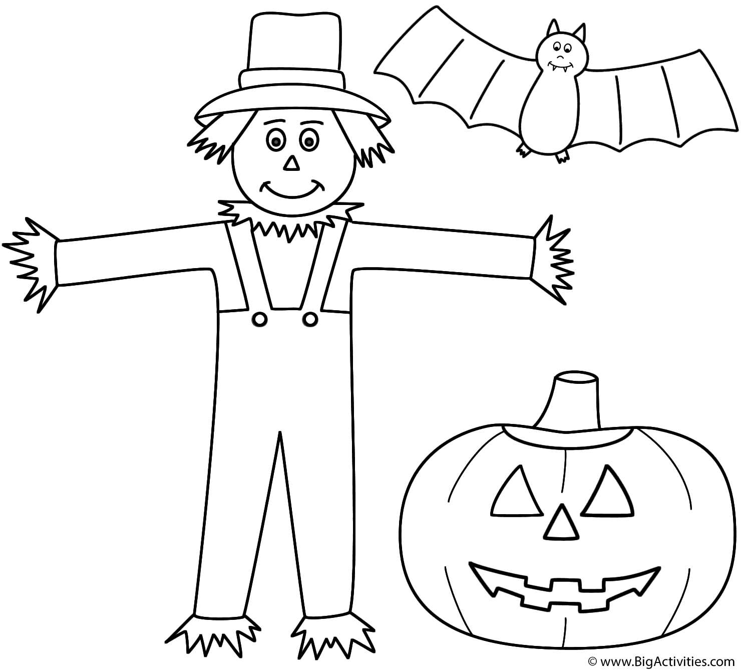 Scarecrow With Pumpkin Jack O Lantern And Bat