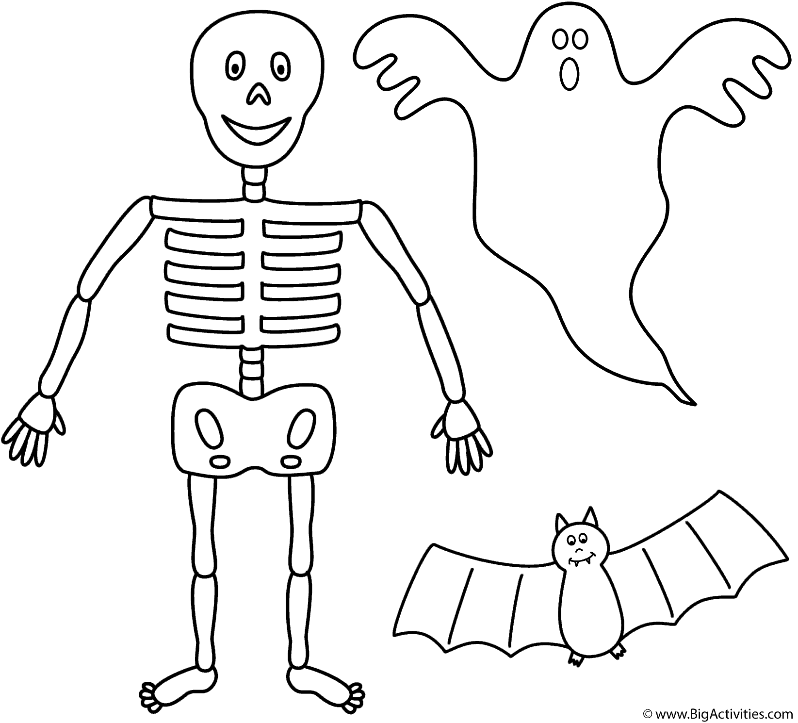 Skeleton With Bat And Ghost Coloring Page Halloween