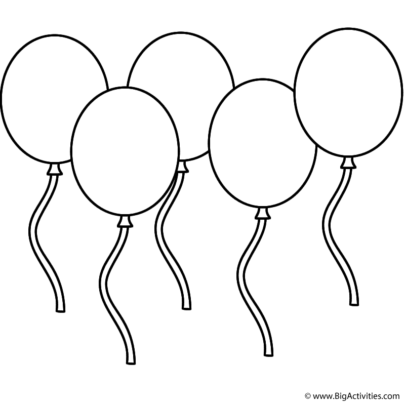 Five Balloons Coloring Page Leap Day