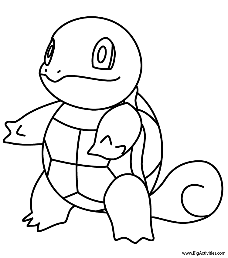 squirtle coloring page pokémon