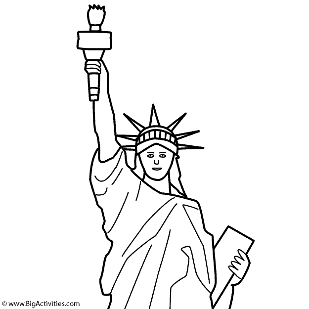 Statue Of Liberty Top With Title Coloring Page Presidents Day