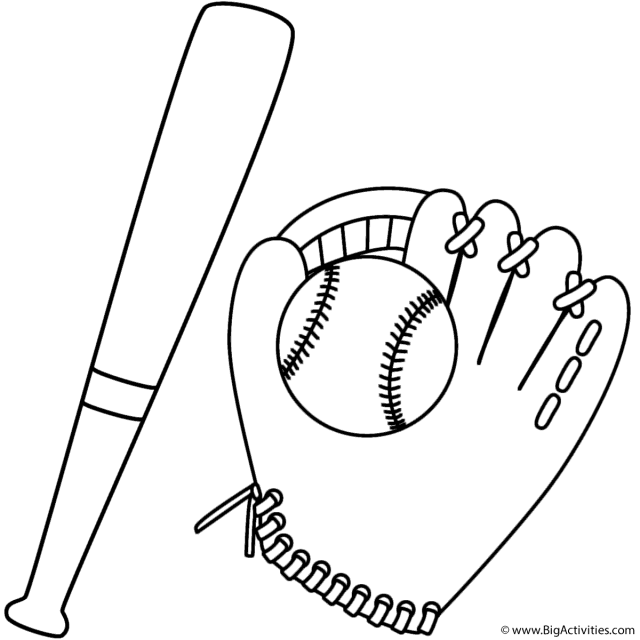 Bat and Baseball in Glove - Coloring Page (Sports)