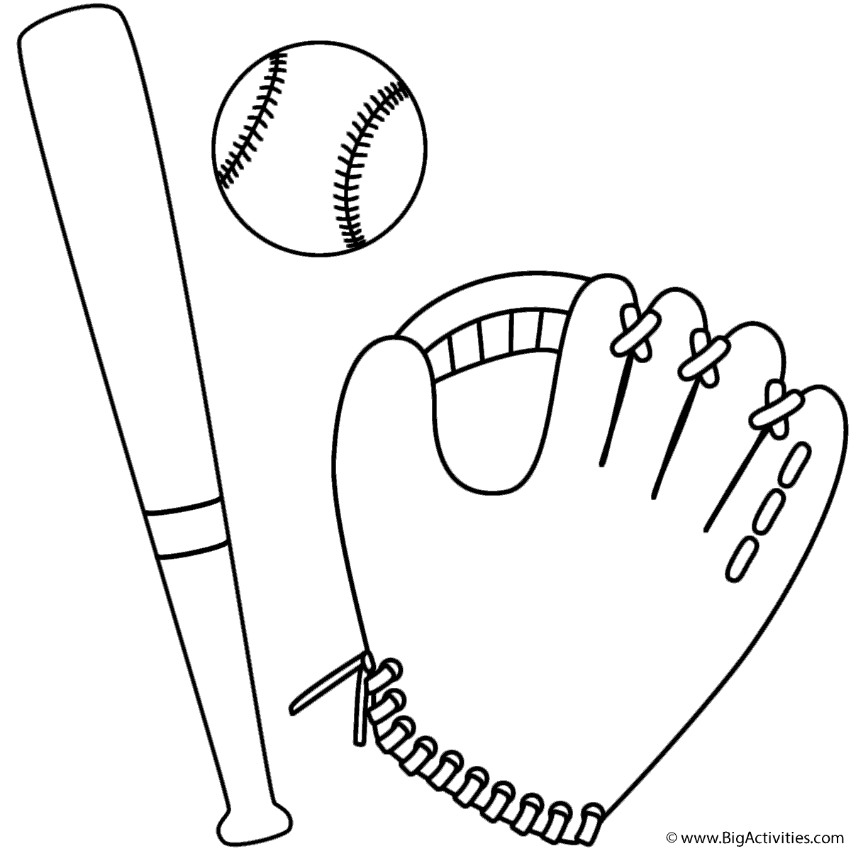 Baseball Bat Coloring Worksheet