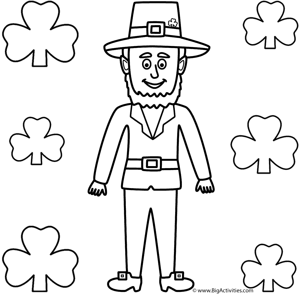leprechaun with shamrocks coloring page st patrick 39 s day