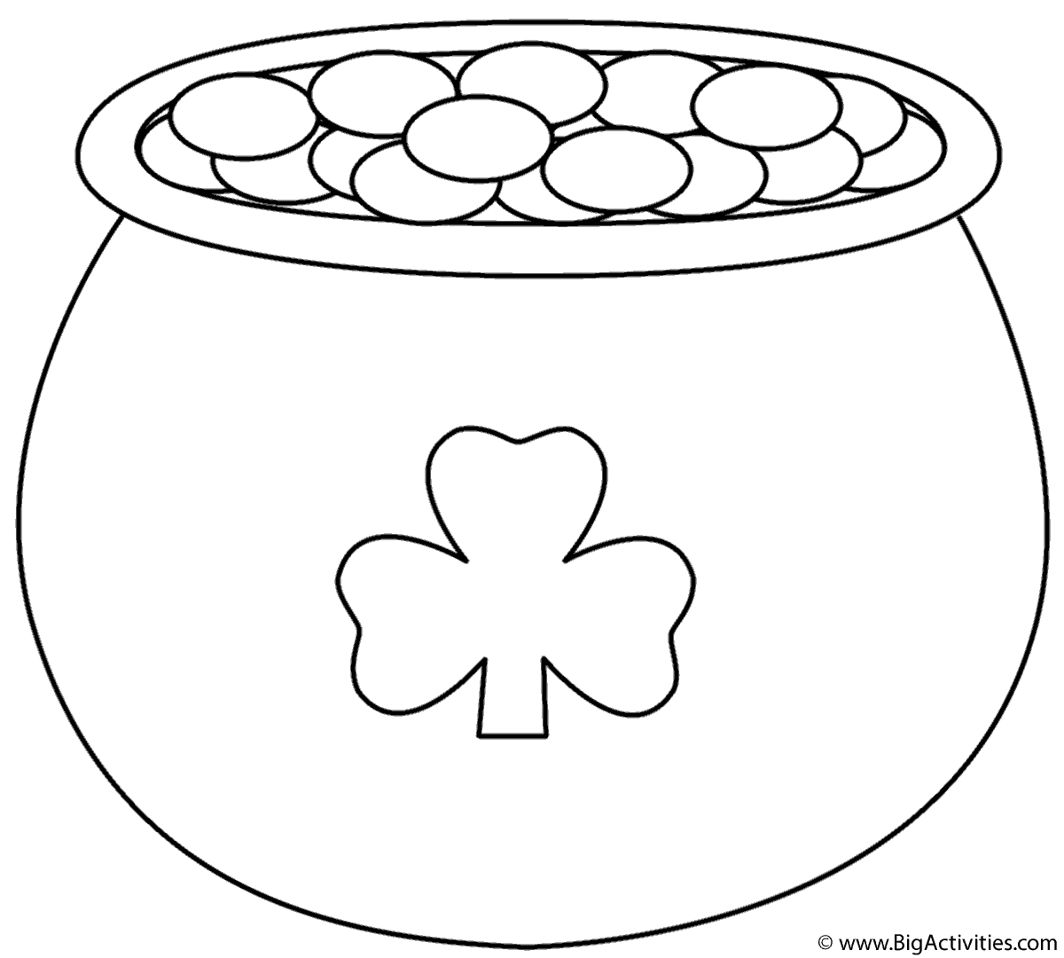 pot of gold with shamrock coloring page st patrick 39 s day